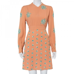 Chloe Peach Embroidered Crepe Waist Tie Detail Shift Dress M - used
