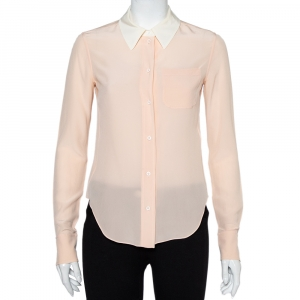 Chloe Pink Silk Contrast Collar Detail Button Front Shirt S - used