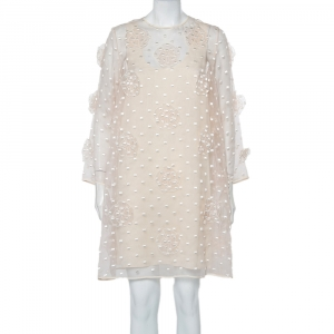 Chloe Light Pink Embroidered Silk Applique Detail Shift Dress M - used