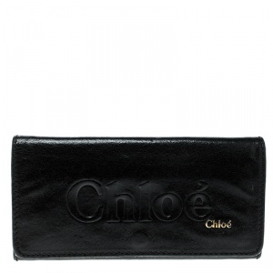 Chloe Black Leather Logo Continental Wallet