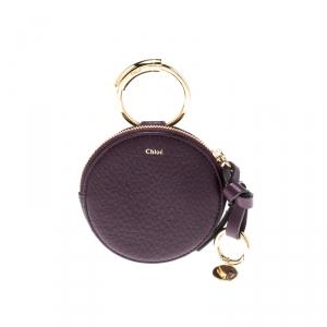 Chloe Purple Leather Alphabet Round Mini Coin Purse