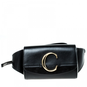 Chloe Black Leather and Suede C Belt Bag