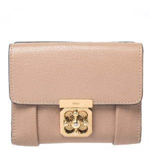 Chloe Beige Leather Compact Wallet