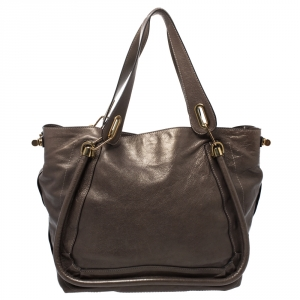Chloe Olive Green Leather Large Paraty Shopper Tote