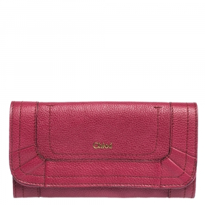 Chloe Magenta Leather Flap Continental Wallet