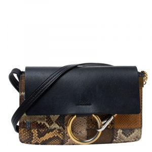 Chloe Multicolor Leather and Python Small Faye Shoulder Bag