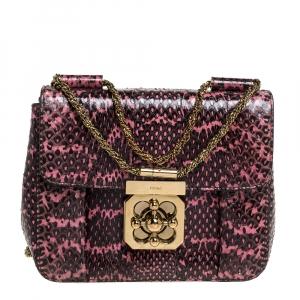 Chloe Pink/Black Python Small Elsie Shoulder Bag