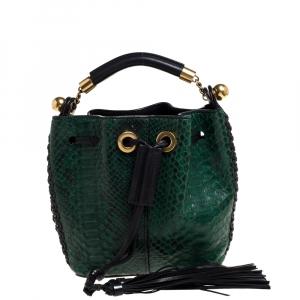 Chloe Green/Black Python and Leather Gala Drawstring Shoulder Bag