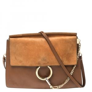 Chloe Brown Leather and Suede Medium Faye Shoulder Bag