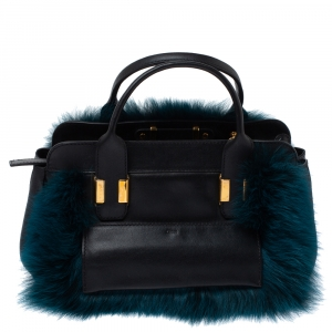 Chloe Black/Teal Leather and Faux Fur Alice Tote