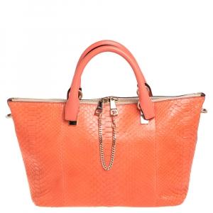Chloé Orange Python and Leather Medium Baylee Tote