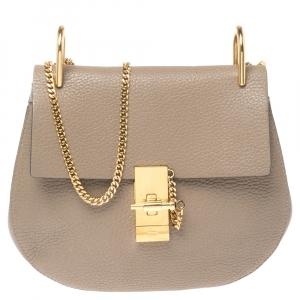 Chloe Beige Leather Small Drew Shoulder Bag