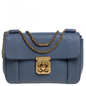 Chloe Blue Leather Medium Elsie Shoulder Bag