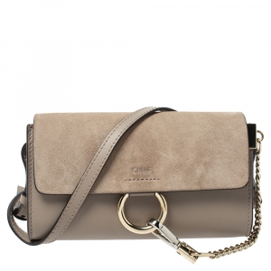 Chloe Grey Leather and Suede Mini Faye Shoulder Bag