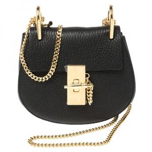 Chloe Black Grained Leather Nano Drew Shoulder Bag