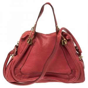 Chloé Red Leather Medium Paraty Shoulder Bag