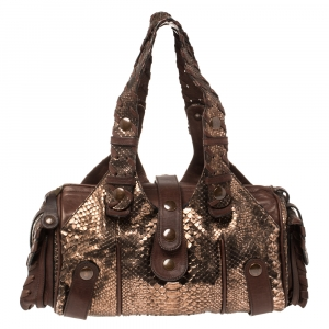 Chloe Brown/Rose Gold Python and Leather Silverado Satchel