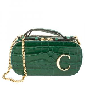 Chloe Green Croc Embossed Leather Mini C Vanity Shoulder Bag