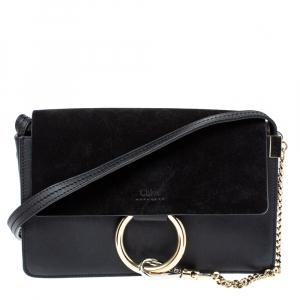 Chloe Black Leather and Suede Faye Shoulder Bag