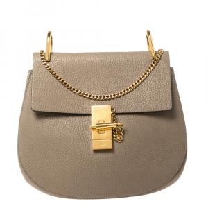 Chloe Taupe Leather Medium Drew Shoulder Bag