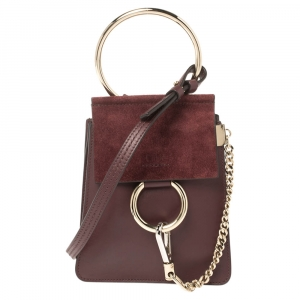 Chloe Dark Burgundy Leather and Suede Mini Faye Crossbody Bag