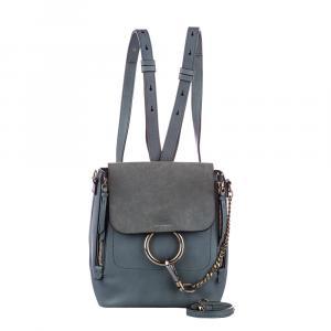 Chloe Blue Leather/Suede Faye Mini Backpack Bag