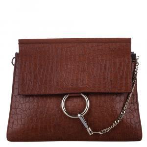 Chloe Brown Embossed Leather Faye Medium Bag