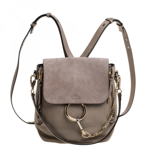 Chloe Grey Leather and Suede Medium Faye Backpack