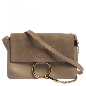 Chloe Dark Beige Leather and Suede Faye Shoulder Bag