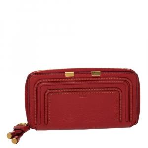 Chloe Red Leather Marcie Zip Around Continental Wallet