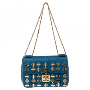 Chloe Blue Leather Medium Crystal Embellished Elsie Shoulder Bag
