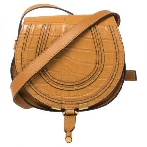 Chloe Tan Croc Embossed Leather Mini Marcie Crossbody Bag