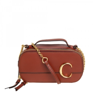 Chloé Tan Leather Mini C Vanity Shoulder Bag