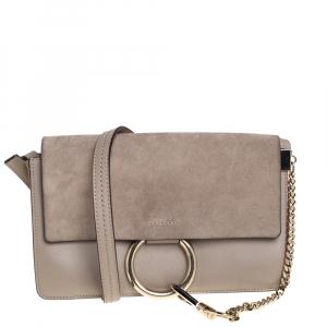 Chloe Beige Leather and Suede Faye Crossbody Bag