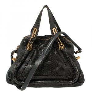 Chloé Spruce Blue Python and Leather Medium Paraty Shoulder Bag