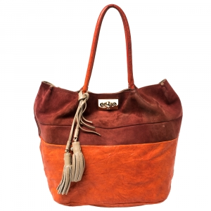 Chloé Orange/Burgundy Suede and Leather Colorblock Tassel Tote