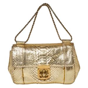 Chloé Metallic Gold Python Medium Elsie Shoulder Bag