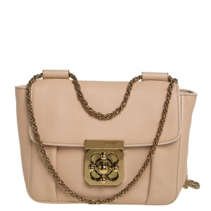 Chloe Beige Leather Small Elsie Shoulder Bag