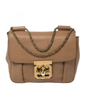 Chloé Beige Leather Small Elsie Shoulder Bag
