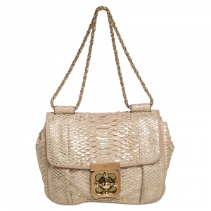 Chloe Metallic Beige Python Small Elsie Shoulder Bag