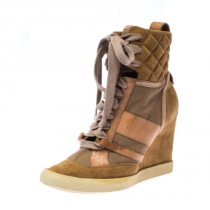 Chloe Beige/Brown Suede Leather And Canvas Lace Up Wedge Ankle Boots Size 38 - used