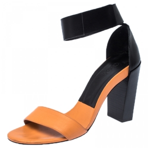 Chloe Orange/Black Leather Ankle Cuff Sandals Size 39 - used