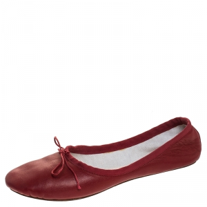 Chloé Red Leather Bow Ballet Flats Size 38.5 - used