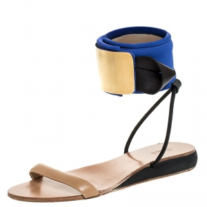 Chloe Blue/Beige Leather And Nylon Ankle Cuff Flat Sandals Size 38 - used