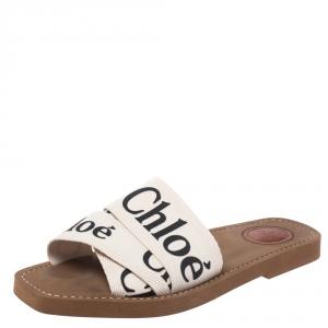 Chloe White Fabric Woody Logo Flat Slides Size 38