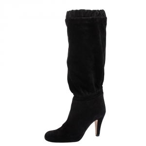 Chloe Black Suede Knee High Boots Size 37