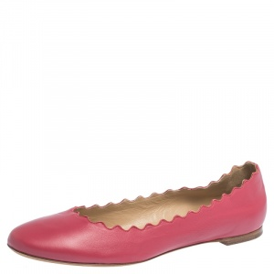 Chloe Pink Leather Lauren Scalloped Ballet Flats Size 39.5