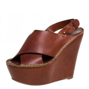 Chloe Brown Leather Criss Cross Platform Wedge Sandals Size 38
