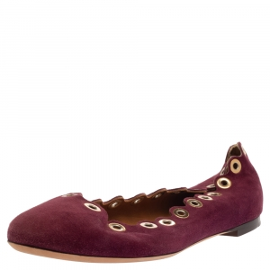 Chloe Purple Suede Grommet Scalloped Ballet Flats Size 39