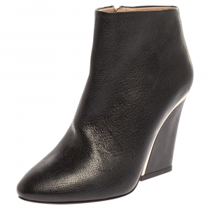 Chloe Black Leather Ankle Length Zipper Boots Size 38.5